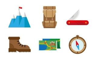 uppsättning symboler och ikoner för campingutrustning vektor