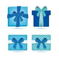 blå presentförpackning och presenterar ikonuppsättning vektor