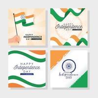 glad Indien självständighetsdagen firande banner set