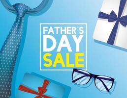 Vatertagsverkaufsbanner mit Krawatte und Brille vektor