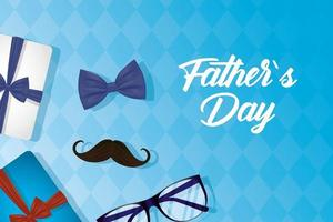 glücklicher Vatertagsbanner mit Geschenken und männlichen Ikonen vektor