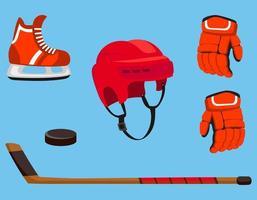uppsättning hockeytillbehör vektor