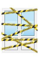 randig säkerhetstejp som blockerar dörren