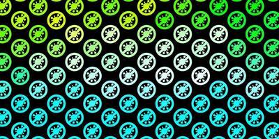 mörkblå, grön bakgrund med covid-19 symboler.