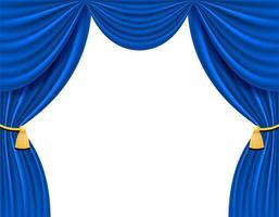 blauer Theatervorhang für Entwurfsvektorillustration