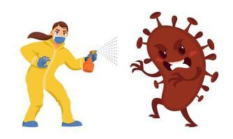 Frau, die Virus kämpft