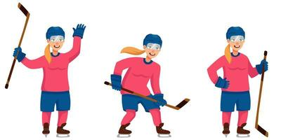 kvinnlig hockeyspelare i olika poser vektor