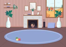 mysigt vardagsrum med öppen spis vektor