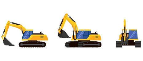 grävmaskin i olika vinklar vektor