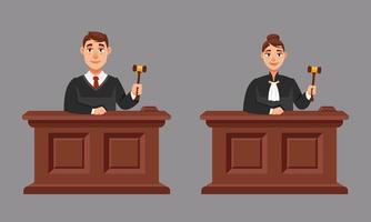 manliga och kvinnliga domare i tecknad stil