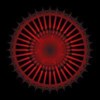 abstrakter roter 3d Spirograph auf schwarzem Hintergrund