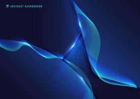 abstrakt blå geometrisk med vågig linje vektor
