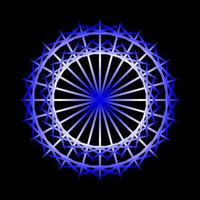 abstrakter blauer kreisförmiger Spirograph auf schwarzem Hintergrund