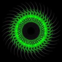 abstrakter grüner Symmetrie-Spirograph auf schwarzem Hintergrund