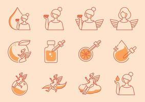 ängel ikonuppsättning med orange vitamin c vektor