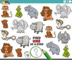 Eine einzigartige Aufgabe für Kinder mit lustigen Tieren