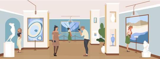 turist på galleriutställningen vektor