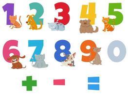 Zahlen mit lustigen Katzen und Hunden gesetzt vektor