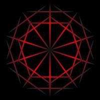 abstrakte rote Linie Spirograph auf schwarzem Hintergrund