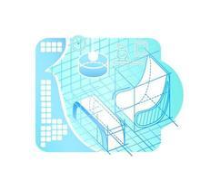 interiör modellering i cyberspace vektor