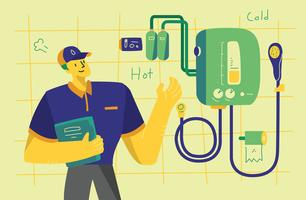 Varmvattenberedare Underhåll Service Flat Vector Illustration