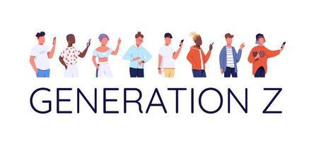 generation z teckenuppsättning vektor