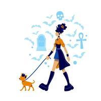 gotisk flicka promenader hund vektor