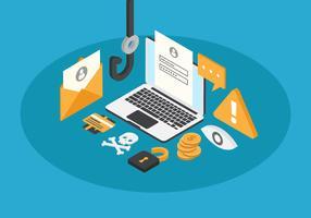Kostenlose isometrische Phishing-Vektor-Illustration