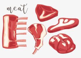 Kalvkött uppsättning vektor