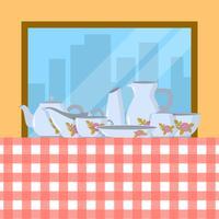 Flachgeschirrsatz Vektor-Illustration