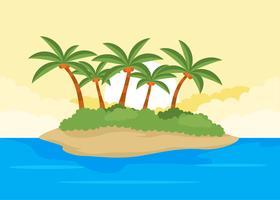Desert Island Palmier Illustration Vektorer