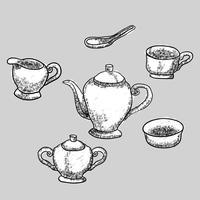 Porslin Dinner Set Hand Drawn vektor