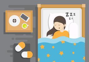 Obenliegende Schlafenszeit-Vektor-Illustration