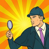 Detektiv, der nach Hinweis-Pop-Art-Illustration sucht vektor
