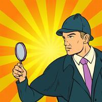 Detektiv som letar efter ledtrådar Pop Art Illustration vektor