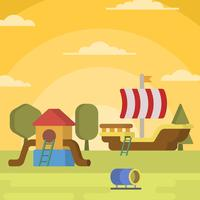 Flat Barn Playhouse Vector Illustration