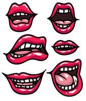 Vektor-Satz Karikatur-Frauen-Mund vektor