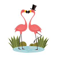 flamingor i kärlek vektor