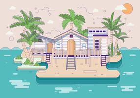 Palmier på stranden vektorn vektor