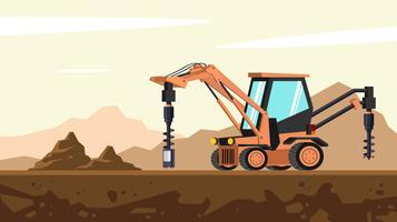 Traktor-Löffelbagger-Erdbohrer-System-freier Vektor