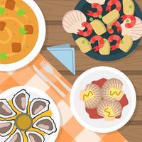 Flache Draufsicht-Kamm-Muscheln und Meeresfrüchteküche Vektor-Illustration