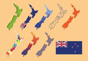 Neuseeland-Karten-Vektor-Satz vektor