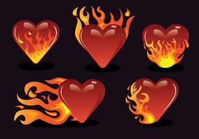 Flammande hjärta vektorpaket vektor