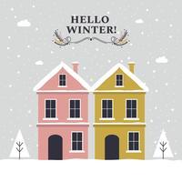 Hej Vinter Vector Bakgrund