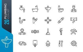 VVS och sanitär utrustning linje ikoner vektor
