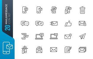 Ikonuppsättning för e-postmeddelande vektor