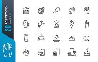 minimales Fast-Food-Icon-Set
