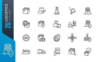 Minimaler Logistik-Icon-Satz