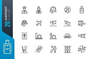 minimal flygplats ikonuppsättning vektor