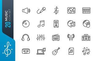 minimal musik ikonuppsättning vektor